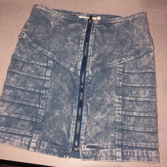 Minkpink denim jean skirt zipper front
